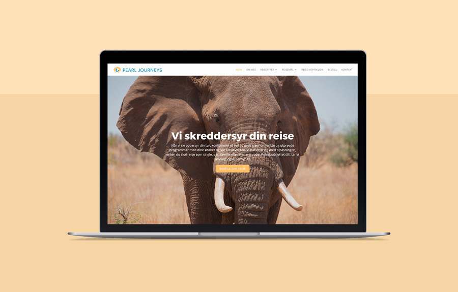 Nettsiden til Pearl Journeys, vist på en macbook med gul bakgrunn
